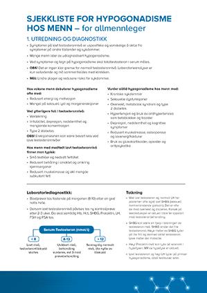 Sjekkliste - Hypogonadisme hos menn